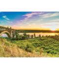 вид на мост и закат на острове Хортица