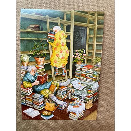 бабушки в библиотеке от финской художницы Inge Look