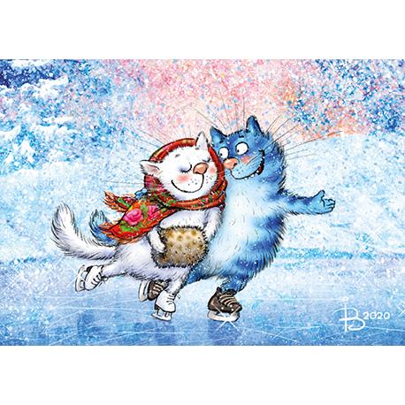 синие коты катаются на коньках