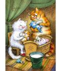 синие коты кормят малышей