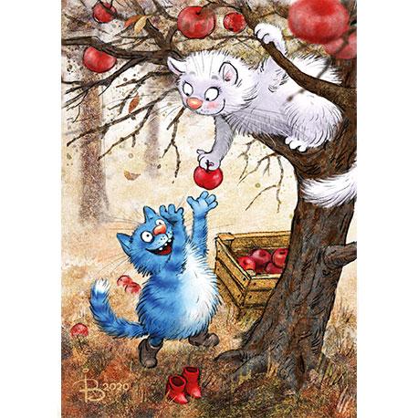 синие коты собирают яблоки