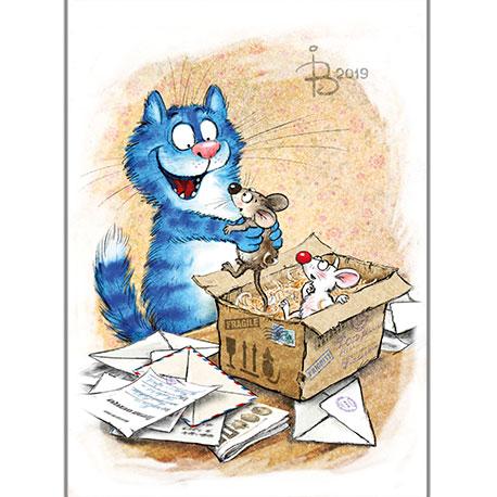 синие коты получают посылку