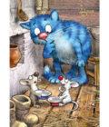 синие коты играют с мышками