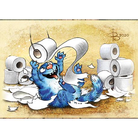 синие коты играются с туалетной бумагой