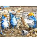 синие коты на стройке в Украине