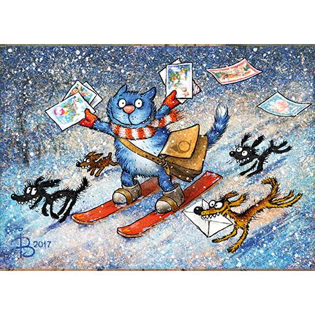 синие коты катаются на лыжах с открытками в Украине