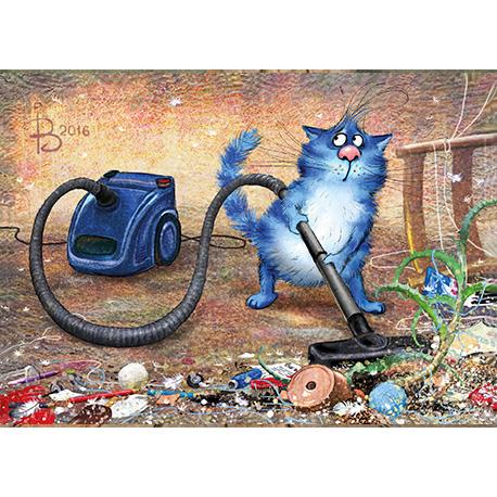 синие коты убирают комнату в Украине